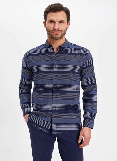 DeFacto Modern Fit Uzun Kol Gömlek Lacivert
